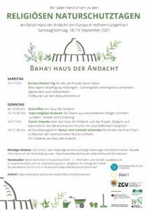 Hofheim: Interreligiöse Andacht zu Natur, Umwelt und Schöpfung @ Bahai Haus der Andacht