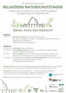 Hofheim: Gartendienst - Tag bei den Religiösen Naturschutztagen @ Bahai Haus der Andacht