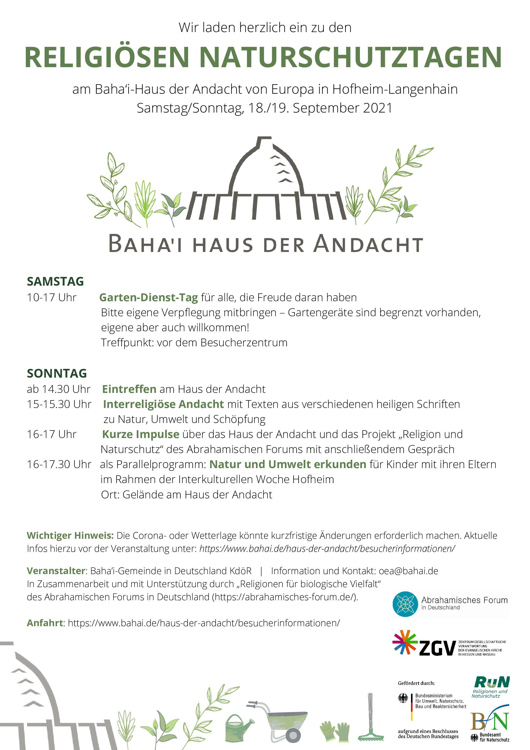 Hofheim: Gartendienst – Tag bei den Religiösen Naturschutztagen